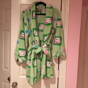 Hello Kitty Green Fuzzy Bathrobe
